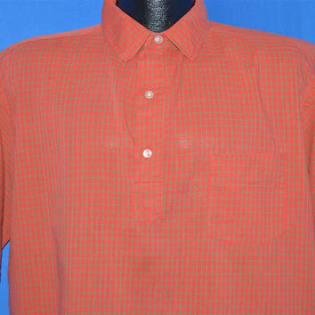 60s Barrie Red Green Gingham Pullover Shirt Large