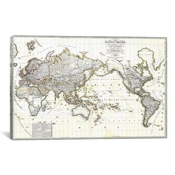 "Antique French Map of The World Canvas Art Print (18"" x 12"" x 0.75"")"