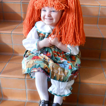 Cabbage Patch Hat Orange Doll Pigtail Wig Photo Props for Girls