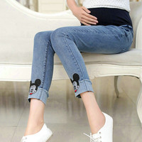 Elastic Waist Maternity Pregnancy Jeans Pants Pregnant Women Leggings Cute Cartoon Solid Clothes For Pregnant Women 3020