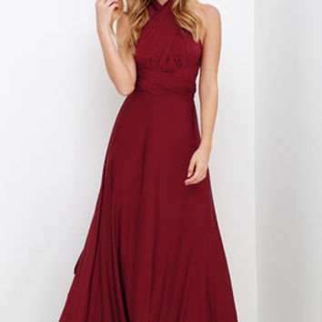Always Stunning Convertible Burgundy Maxi Dress