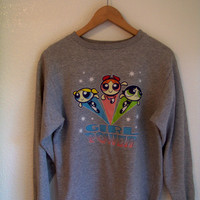 M 90's POWERPUFF GIRLS Cartoon Novelty Jumper Sweatshirt Jumper Vintage Medium 1990's