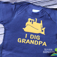 Baby I DIG GRANDPA short sleeve boy bodysuit/creeper