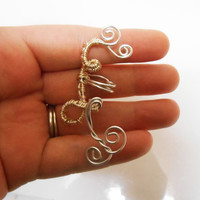 Silver Elven Ear cuff no pierce ear wrap silver ornate cuff ear jewelry earrings elven cosplay elven jewelry