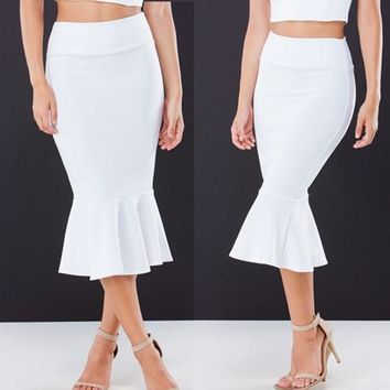 White Plain Pleated Mermaid Slim Blow Knee Bodycon Fashion Skirt