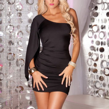 Black One Shoulder Bodycon Ruched Mini Dress