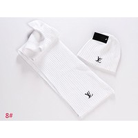 LV Louis Vuitton Fashion Women Men Winter Knit Hat Cap Scarf Set Two-Piece White I-AJIN-BCYJSH