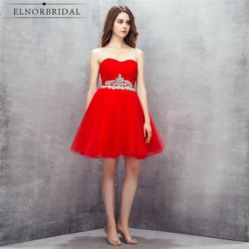 Cheap Red Short Prom Dresses 2018 Sexy Vestido De Festa Curto Formal Evening Dress Mini Sweetheart Cocktail Party Gowns