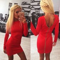 Zippers Slim Sexy Backless Pen Dress Mini One Piece Dress [6339084673]