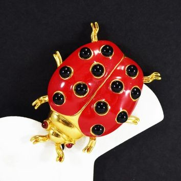 Vintage Ladybug Brooch Signed Trifari Mod Red with Black Polkadots & Rhinestone Eyes. HTF Large Bug Pin Vintage 1960's 1970's Insect Jewelry