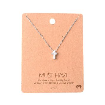 Must Have-Small Cross Necklace, Silver
