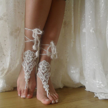 ivory lace Barefoot Sandals, Nude shoes, Foot jewelry,Wedding, Sexy, beach wedding barefoot sandals Anklet