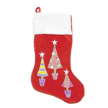 "20"" Red Embroidered Velveteen Christmas Tree Stocking with White Faux Fur Cuff"