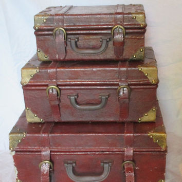 ON SALE Leather Suitcases, 3, Vintage, Decorative, Stacking, Storage, Brass Trimmed, Nesting Suitcases