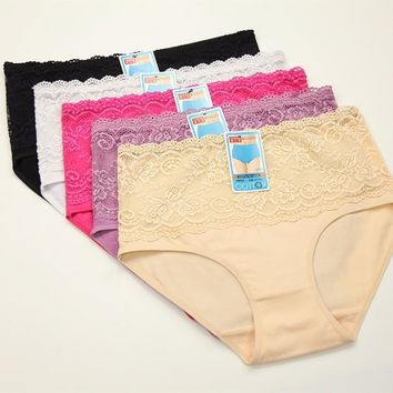 4PCS/Large Size women sexy lace panties seamless cotton breathable panty Hollow briefs girl sexy underwear