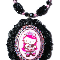 Tarina Tarantino Crystal Queen Of Pink Cameo Necklace Rose/Jet One