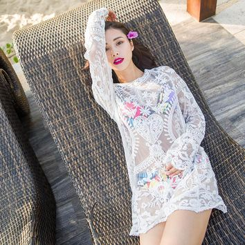 2016 Summer  Beach Cover Up Bikini Bathing Suit Cover Ups BeachWear white High Quality drop shipping