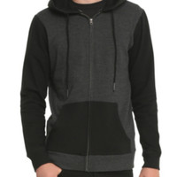 RUDE Black & Grey Color Block Zip Hoodie