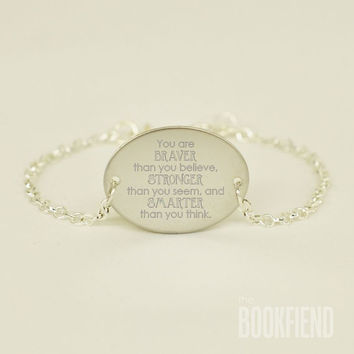 you are braver than you believe engraved metal bracelet