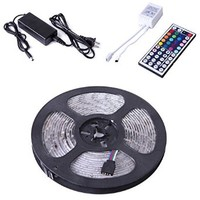 HDE 300 LED Waterproof RGB Multicolor 5050 SMD Indoor/Outdoor Flexible Light Strip Kit with 44 Key Remote & 12V...