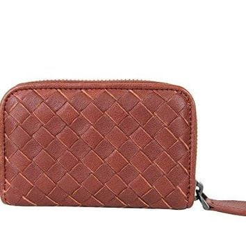 Bottega Veneta Reddish Brown Woven Leather Coin Purse Card Holder Wallet 114075 6320