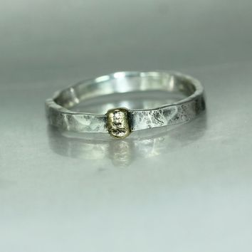 Organic Gold Silver Womans Mans Twig Ring