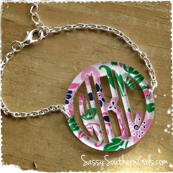 Monogram Acrylic Bordered Bracelet, Mary Beth Goodwin Patterns, Lilly Pulitzer Inspired