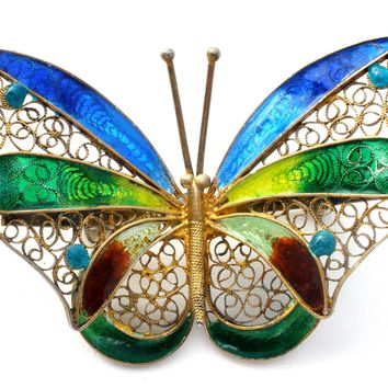 Butterfly Brooch Pin 800 Silver Antique