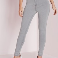 Missguided - Vice High Waisted Skinny Jeans Light Grey