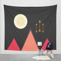 Full Moon, Desert Mountain Wall Tapestry by DuckyB (Brandi)