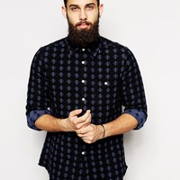 ASOS Twill Shirt In Long Sleeve With Brushed Icon at asos.com
