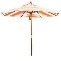 Orange & Natural White Stripe Market Umbrella with Wood Pole