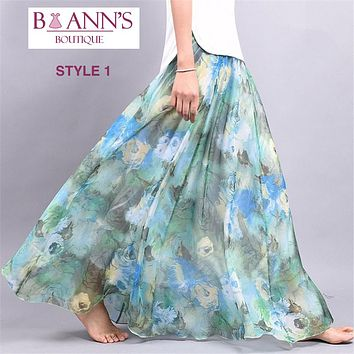 FLOOR LENGTH FLORAL CHIFFON SKIRT