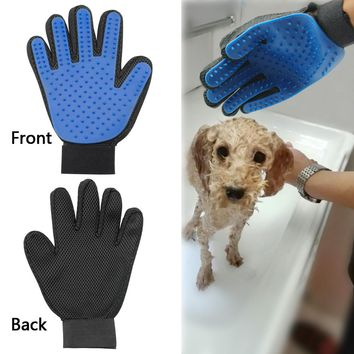 Pet Dog Cat Bath Wash Grooming Glove Brush Dogs Cleaning Massage Comb Hair And Fur Remover Mitt For Puppy Five Fingers Blue
