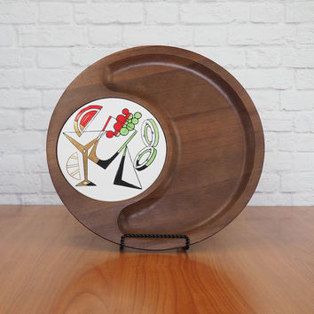 Large Round Wooden Cheese Board Serving Tray | Martini Theme Cocktail Party Tray