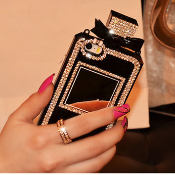 Perfume Bottle Case Bling Rhinestone Diamond Cover For iPhone 4 5S SE 6 6s Plus 7 7plus for samsung S4 S5 S6 S7