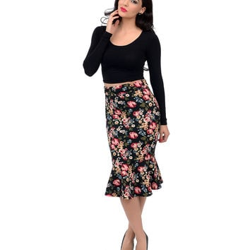 Black & Pink Floral Quilted High Waist Mermaid Pencil Skirt