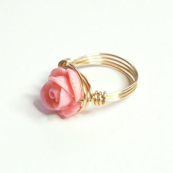 Pink Coral Rose Cabachon and Gold Wire Wrapped Ring