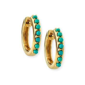 Sydney Evan 14k Small Prong Turquoise Huggie Hoop Earrings
