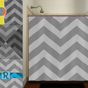 personalized name zigzag gray chevron shower curtain bathroom decor fabric kids bath white black custom duvet cover rug mat window