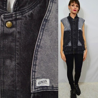 Vintage Denim Vest Guess MENS MED Black Grey Soft Grunge 1990's Jean Sleeveless Jacket Two Tone Color Block Dope Thick Lined Men's Clothing