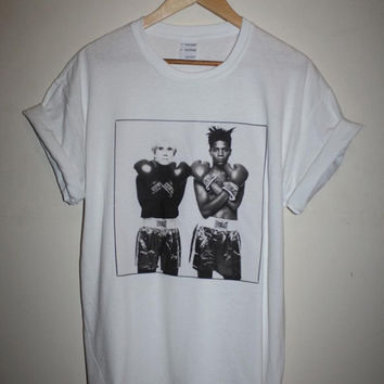 brand new * Jean Michel Basquiat Andy Warhol T-shirt NYC Keith Haring Hip Hop Art *  Available in Small, Medium, Large or XL.