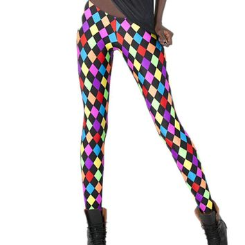 Adult Mardi Gras Jester Costume Checked Print Pants Spandex Colorful Plaid leggings for women carnival party halloween costumes