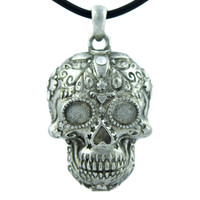 Day of the Dead Sugar Skull Necklace Dia De Los Muertos Jewelry