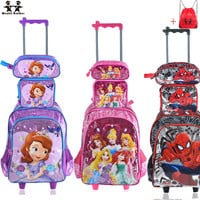wenjie brother Children Mochilas Kids school bags With Wheel Trolley Luggage For boys Girls backpack Mochila Infantil Bolsas