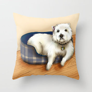 Dexter the Westie in His Doggie Bed Throw Pillow by Circus Dog Industries