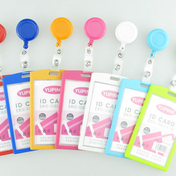 1pcs New Arrival Candy Color Retractable Badge Reel For Ski Pass ID Bus Identity Card Case Holder Vertical Office Supplies