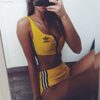 Fashion Sport Tank Top Bra Panty Shorts Underwear Set Bikini Swimwear Swimsuit