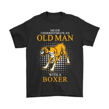 AUGUAU Never Underestimate An Old Man With A Boxer Dog Shirts