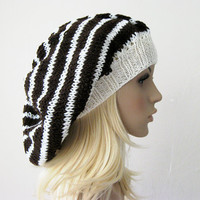 Brown and Ivory Baggy Beanie Hat Striped by fairstore on Etsy